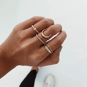 5 Piece Boho Gold Ring Set